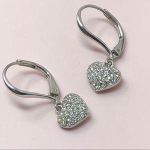 Napier petite rhinestone heart earrings pave